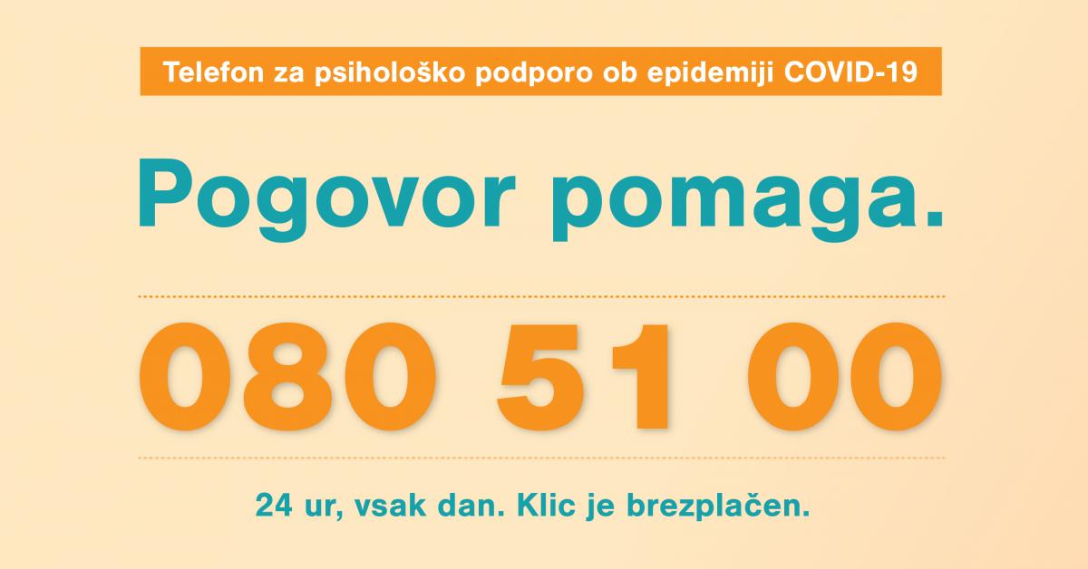 Telefon za psihološko podporo ob epidemiji COVID-19: 080 51 00