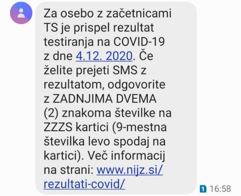 Enotno SMS obveščanje o rezultatu testiranja COVID-19